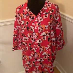 2 for $20 Woman Within red floral button down